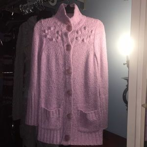 Kenzie light purple long button up sweater